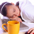 Teenager Fell Asleep While Working — Stock Photo