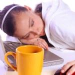 Teenager Fell Asleep While Working — Stock Photo