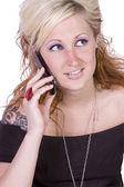可爱的女孩在电话上交谈 — 图库照片
