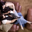 Two Girls Sitting on the Sofa — Stock Photo #3018222