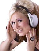 Cute Girl Listening to Music — Stock Photo