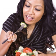 Beautiful Girl Eating Salad — Stock Photo