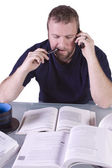 College Student with Books on the Table — Stock Photo