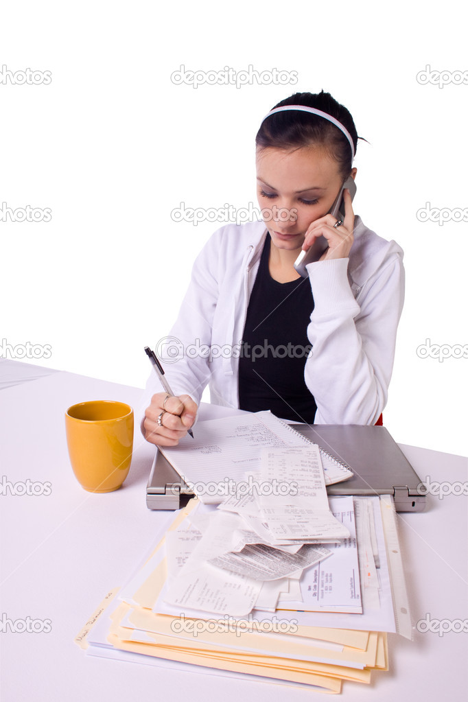 Teen Girl Paying Bills and Making a To Do List - Isolated — Stock Photo #3193914