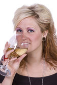 Beautiful Woman Posing with Wine — Stock Photo