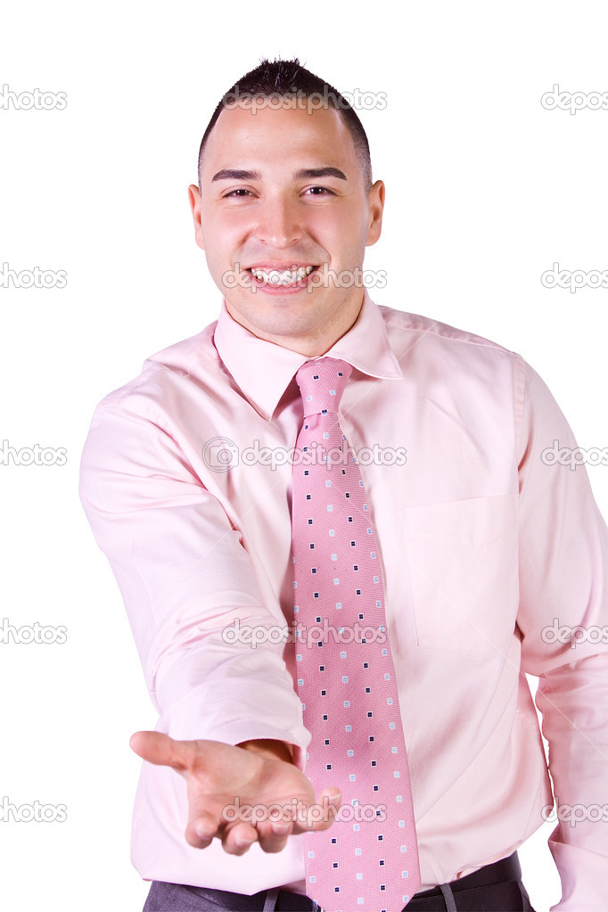 Handsome Hispanic Businessman Extending His Empty Hand for your product  Stock Photo #3369423