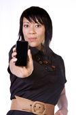 Beautiful Asian-Hispanic Woman Holding a Cell Phone — Stock Photo
