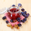Stock Photo: Jar of plum preserve