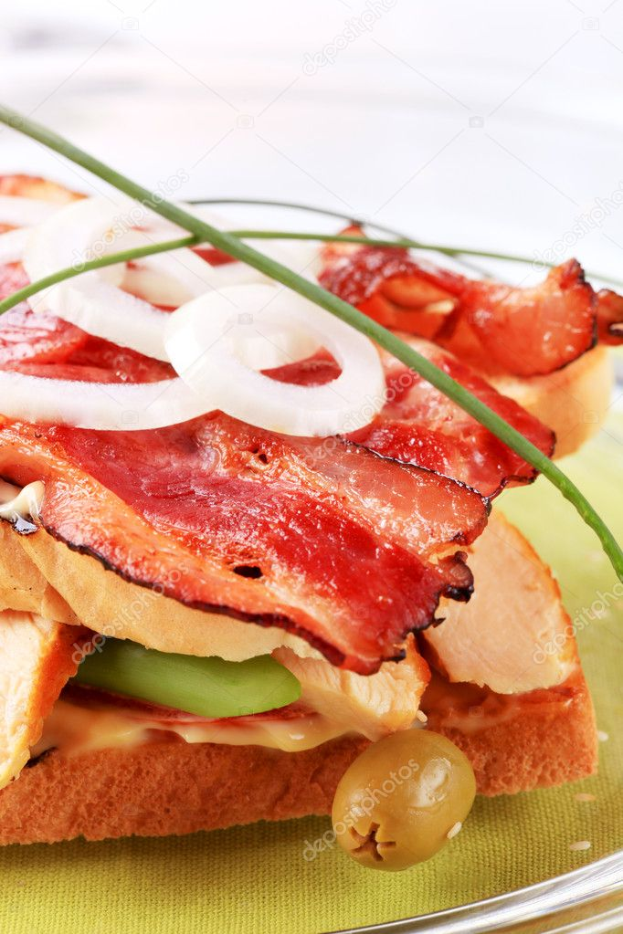 Turkey and roast bacon sandwich - detail  Stock Photo #3011317