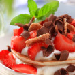 Pancakes with quark and strawberries — Stock Photo