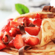Stock Photo: Crepes with curd cheese and strawberries