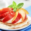 Pancakes with quark and fruit — Stock Photo