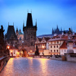 Charles Bridge at dawn - Stock Photo