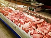 Selection of meat at a butcher shop — Stock Photo