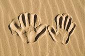 Strony drukuje w piasku — Zdjęcie stockowe