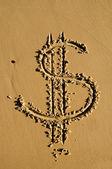 Segno di dollaro nella sabbia — Foto Stock