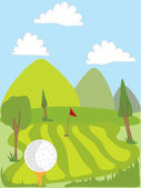 Campo de golf — Vector de stock