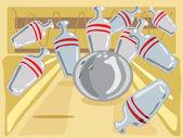 Ten pin bowling — Stock Vector