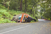 Overturned truck — Stock Photo