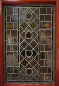 Stained glass pub window — Stock Photo