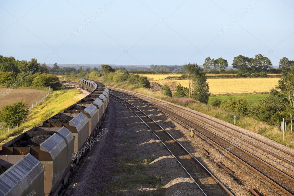 A coal train on railway tracks on a summers day — Stock Photo #2807690