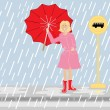 Waiting in the rain — Stock Vector