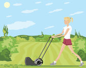 Mowing the lawn — Stock Vector
