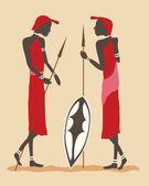 масаи воины — Cтоковый вектор