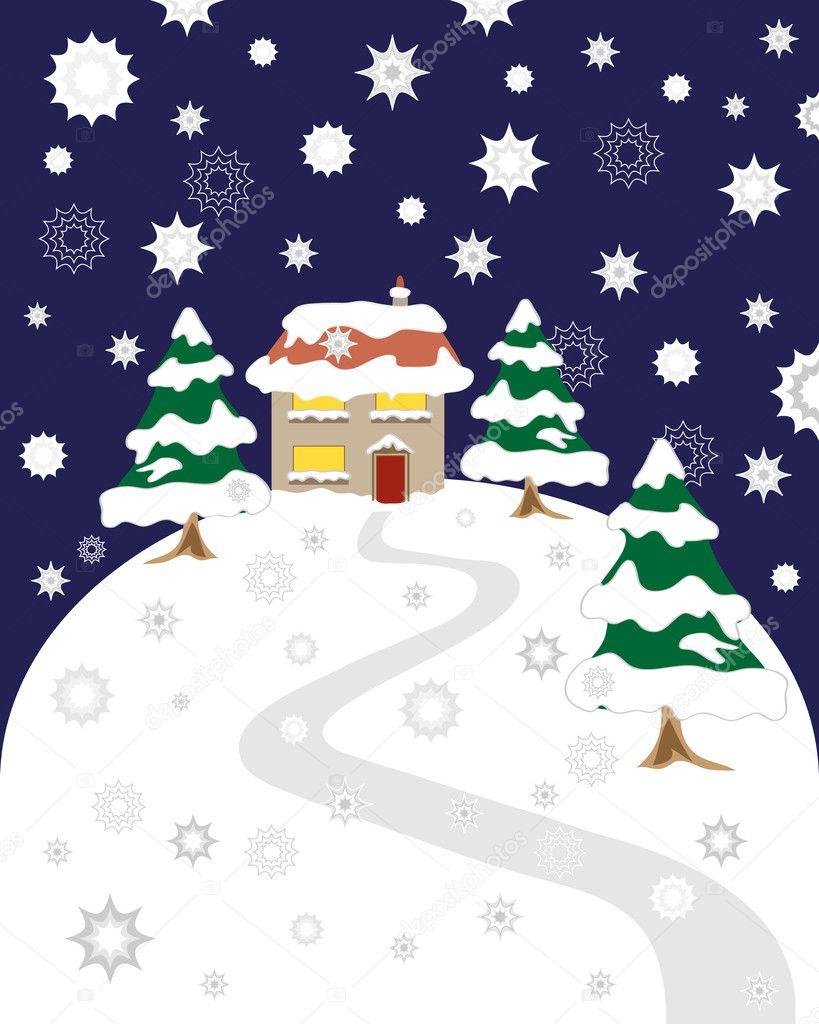 一个房子在山上的树木被冰雪覆盖在圣诞节前夕与昏暗