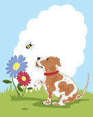 Puppy and flower — Stock Vector