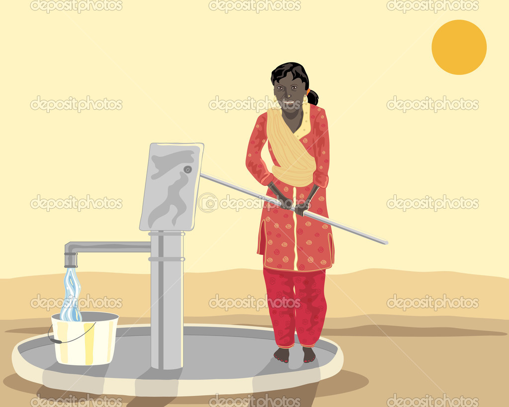 A hand drawn illustration of an asian woman at a well pumping water dressed in salwar kameez under a setting sun — Stock Vector #3719944