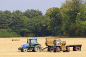 Collecting straw bales — Stock Photo