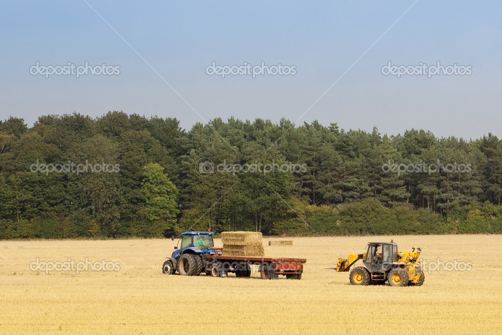 A tractor and a loader collecting straw bales in autumn — Stock Photo #3806440