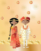 Asian wedding — Stock Vector