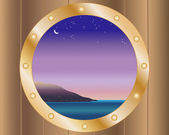 Porthole with night sky — Stock Vector