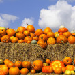 Pumpkins on bales of straw (hay) — Stock Photo #2938816