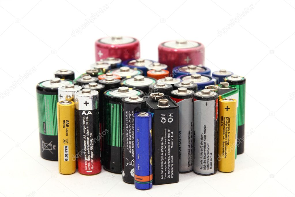 Old batteries on white background  — Stock Photo #2879689