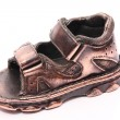 Bronzed baby shoe — Stock Photo