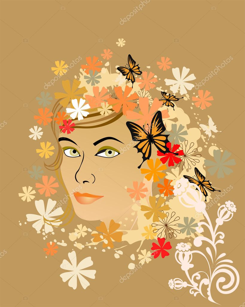 Vector illustration of many colorful flowers around a woman face  Stock Vector #2728487