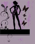 Garota floral — Vetor de Stock