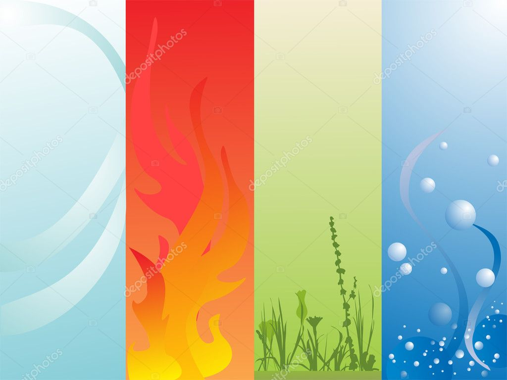 Vector illustration of air, fire, land and water elements — Stock Vector #2830432