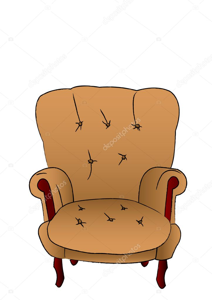 The vector leather brown armchair is isolated on a white background — Stock Vector #3443227