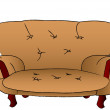Royalty-Free Stock Vector Image: Brown sofa is isolated