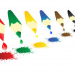Vector illustration colour pencils with blots — Vector de stock #3589337