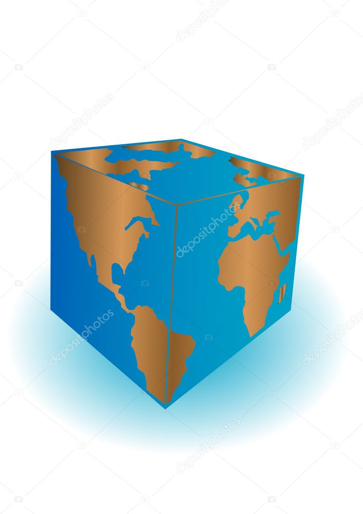 Vector illustration a planet the earth cubed on a white background — Stock Vector #3605748