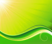 Sun-rays and wave green vector backgroun — Stock Vector
