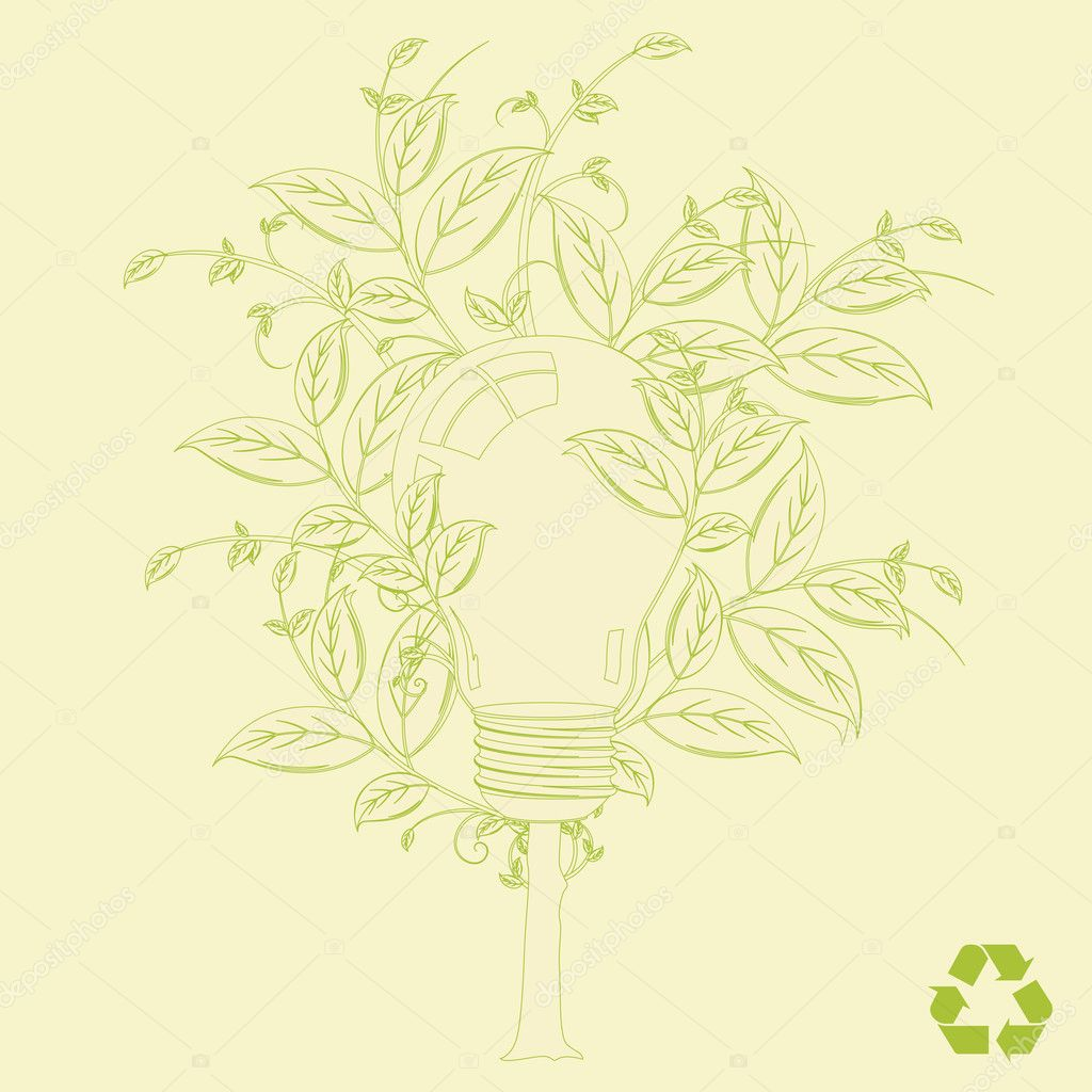 Eco alternative energy tree vector concept background for poster or card  Imagen vectorial #2757884