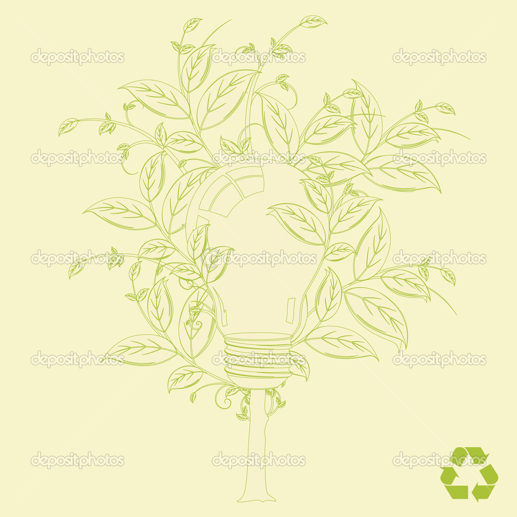 Eco alternative energy tree vector concept background for poster or card — Stok Vektör #2757884