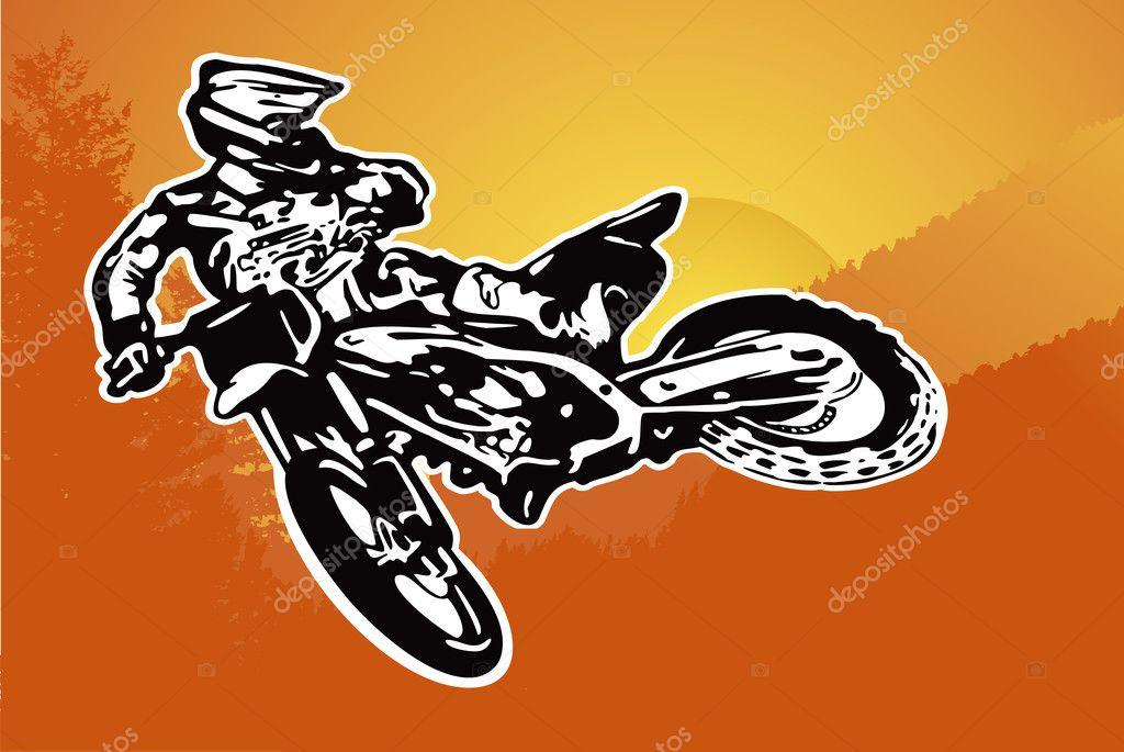 电单车或摩托车越野赛矢量背景