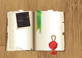 Open vintage Book with bookmark — Vettoriale Stock